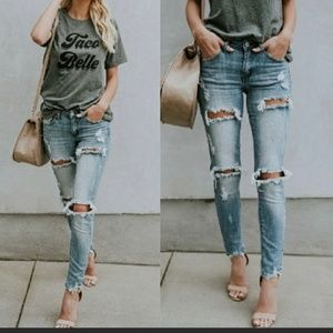 Denim - DAISY JANE Distressed Skinny Jeans